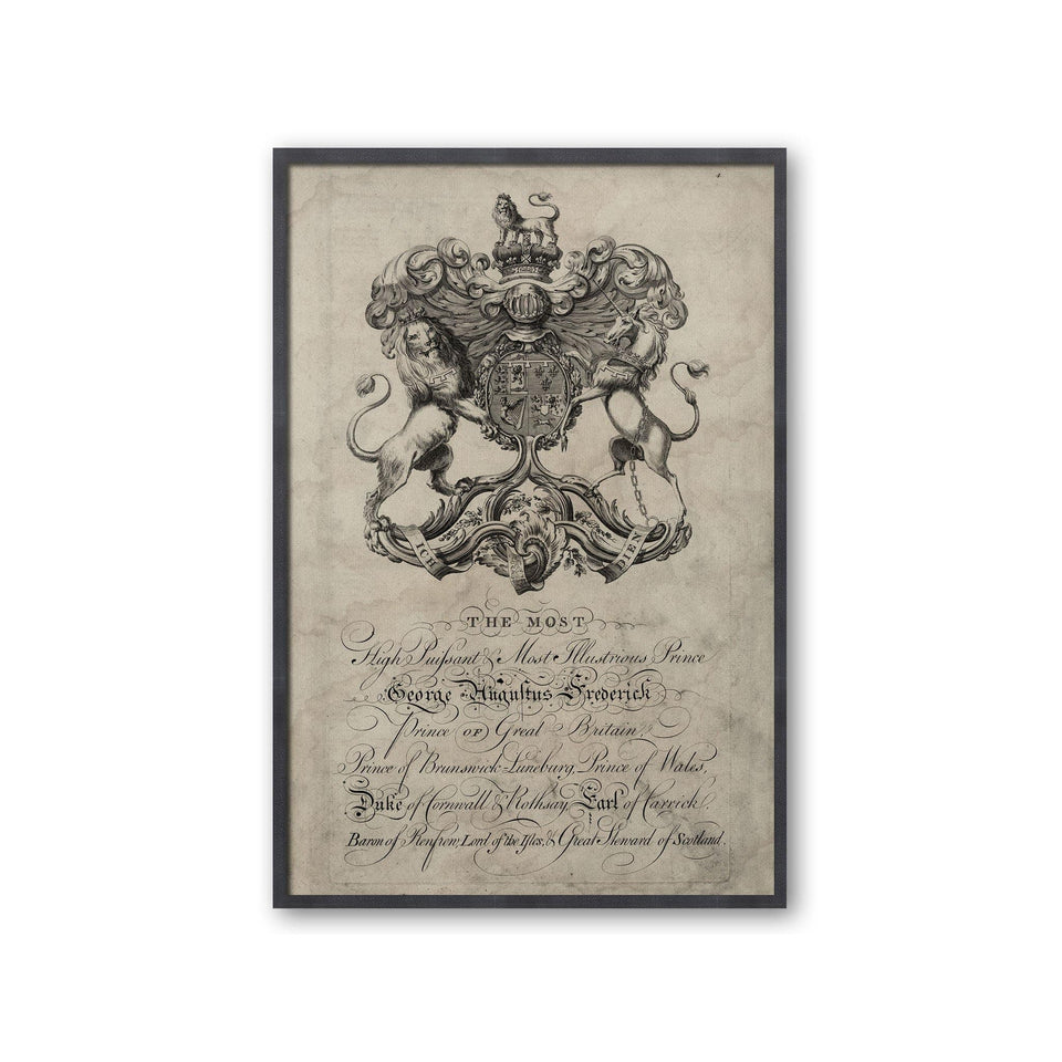 18th Century ENGLISH ARMORIAL ENGRAVING #14 - FREDERICK CREST - Foundry