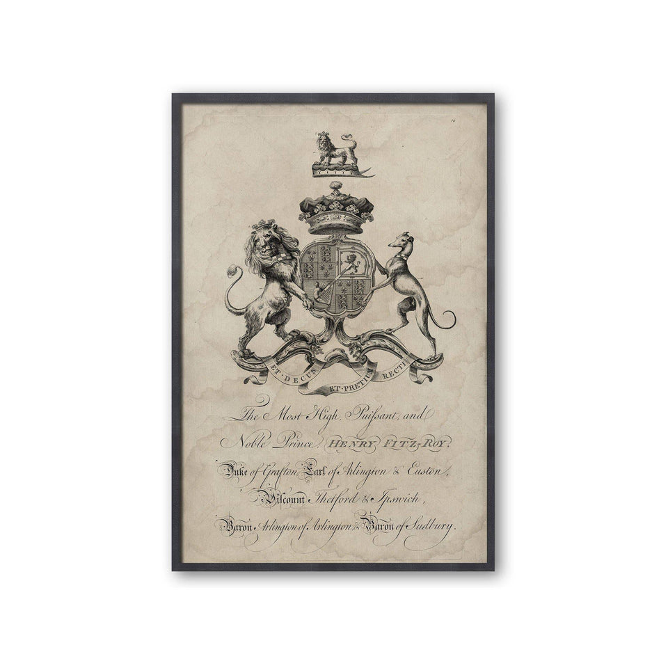 18th Century ENGLISH ARMORIAL ENGRAVING #16 - FITZROY CREST - Foundry