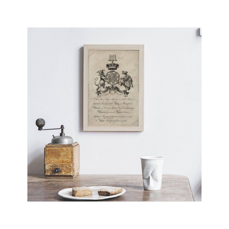 18th Century ENGLISH ARMORIAL ENGRAVING #17 - SOMERSET CREST - Foundry