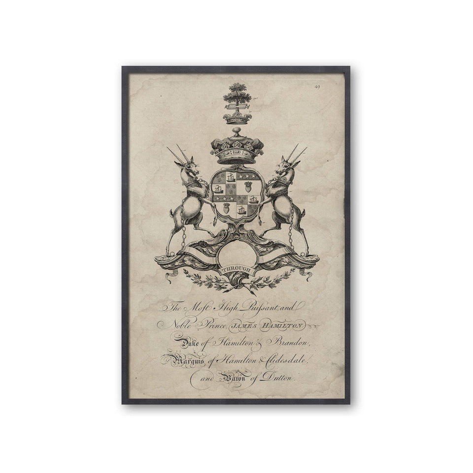 18th Century ENGLISH ARMORIAL ENGRAVING #18 - HAMILTON CREST - Foundry