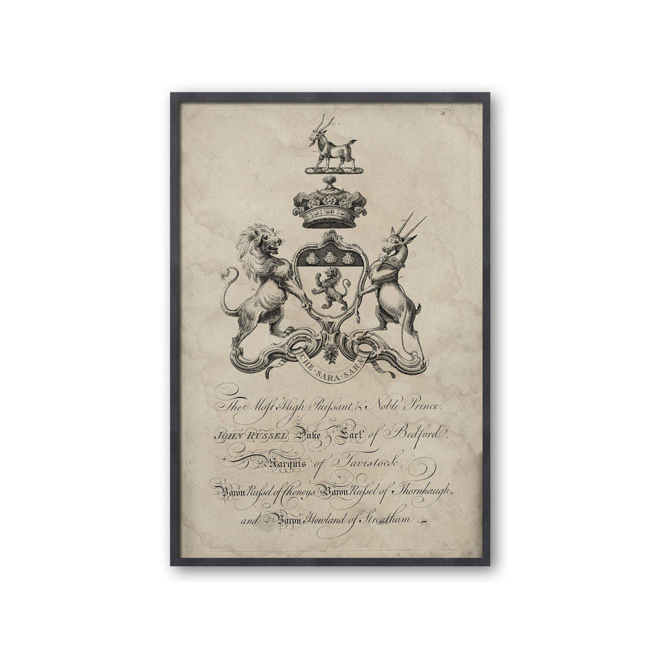 18th Century ENGLISH ARMORIAL ENGRAVING #19 - RUSSEL CREST - Foundry