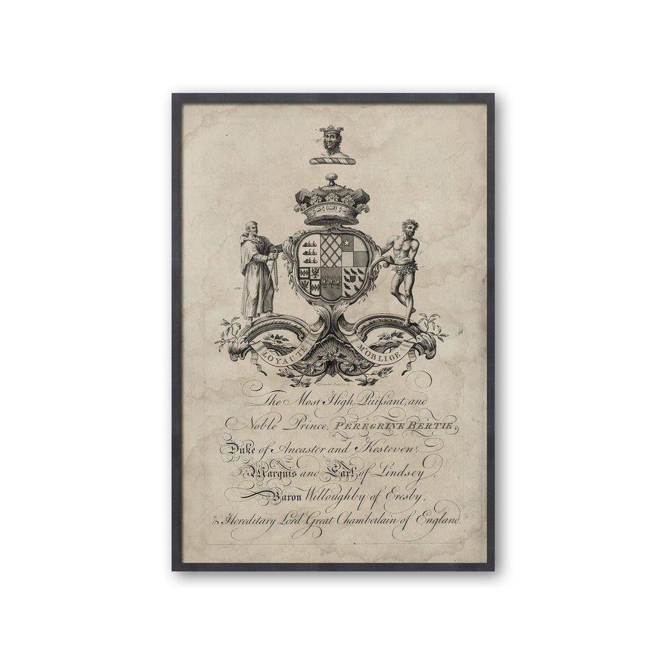 18th Century ENGLISH ARMORIAL ENGRAVING #21 - PEREGRINE CREST