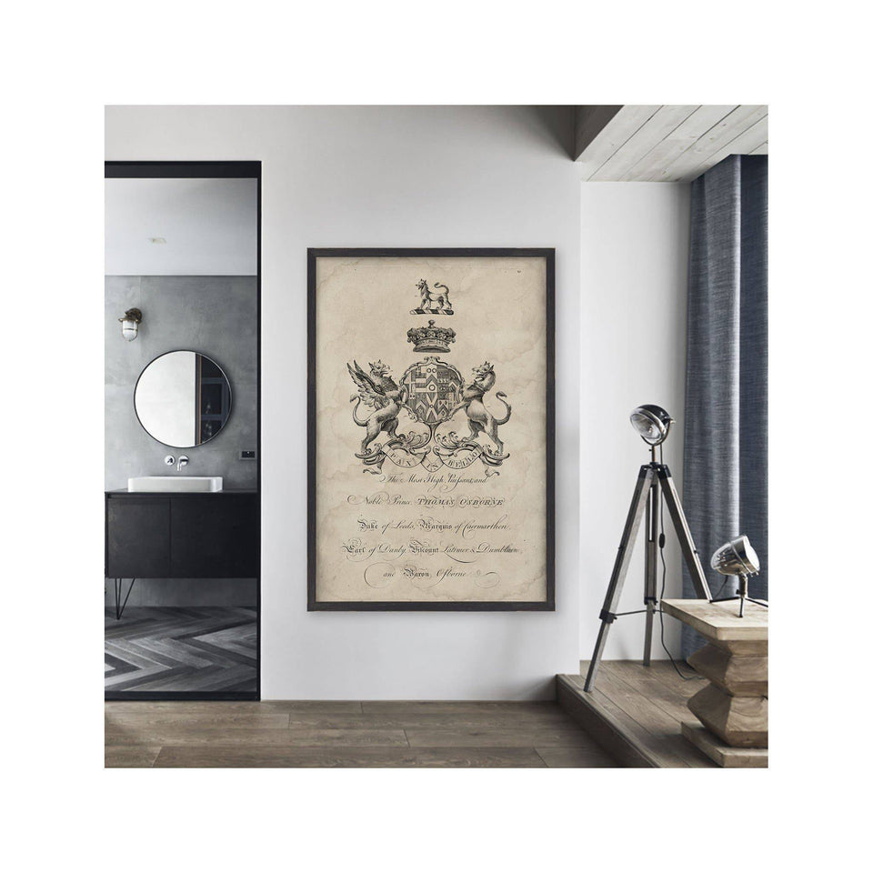 18th Century ENGLISH ARMORIAL ENGRAVING #22 - OSBORNE CREST - Foundry