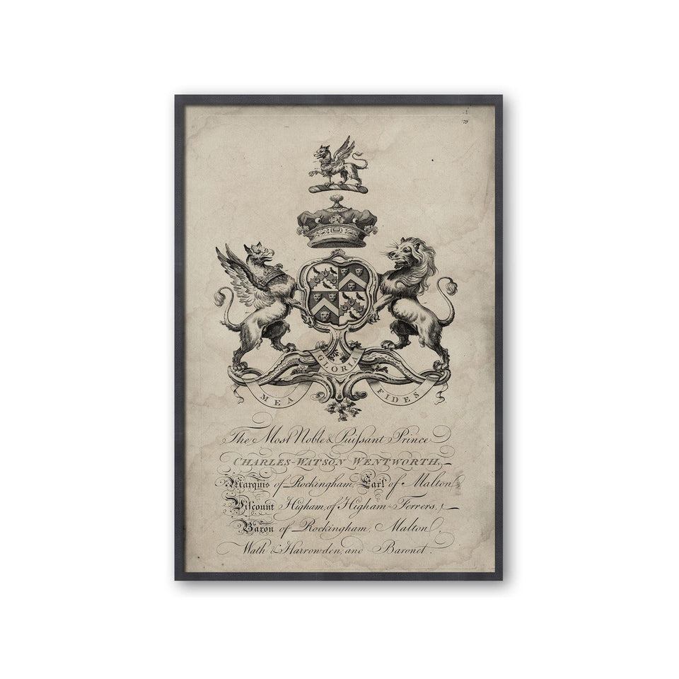 18th Century ENGLISH ARMORIAL ENGRAVING #23 - FITZROY CREST - Foundry