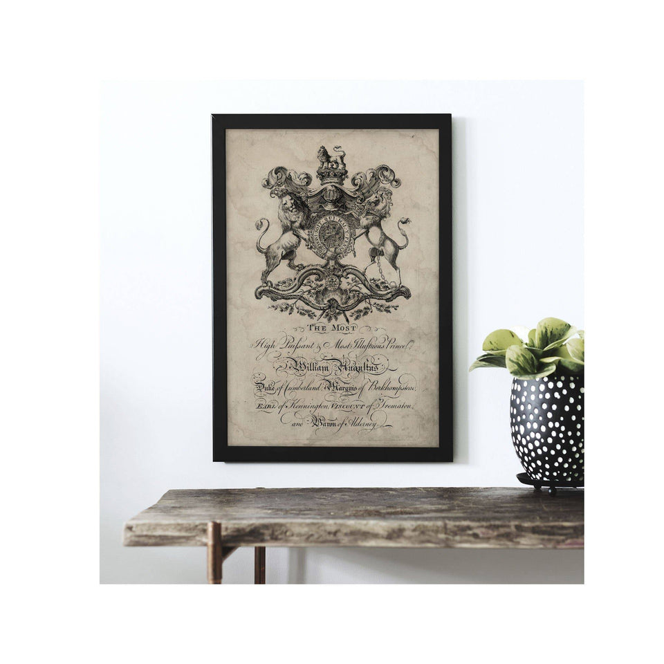 18th Century ENGLISH ARMORIAL ENGRAVING #24 - WILLIAM AUGULTUS CREST - Foundry