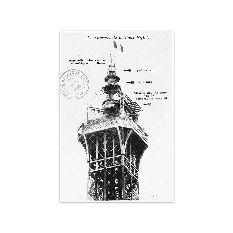 1912 EIFFEL TOWER SUMMIT Postcard - Foundry