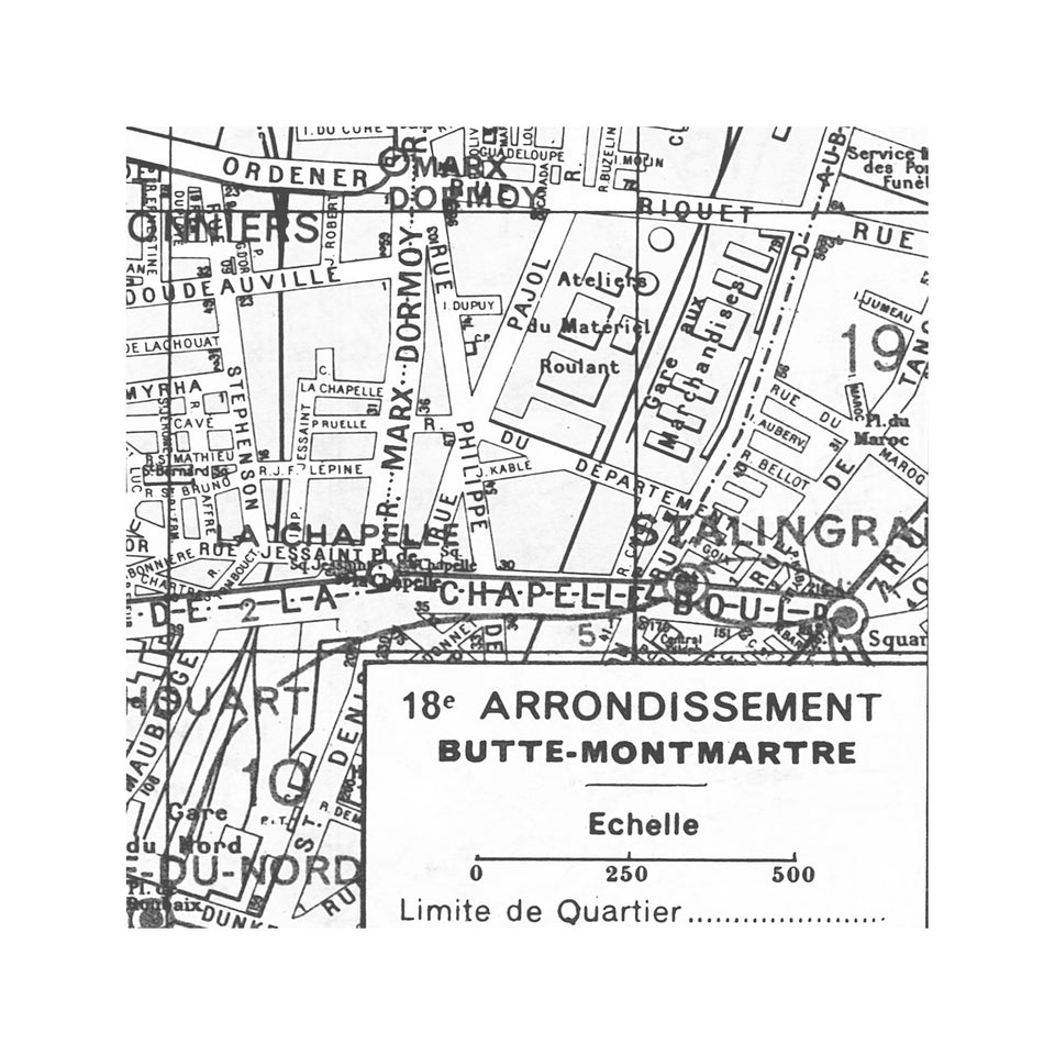 PARIS Map - 18th Arrondissement - BUTTE MONTMARTRE