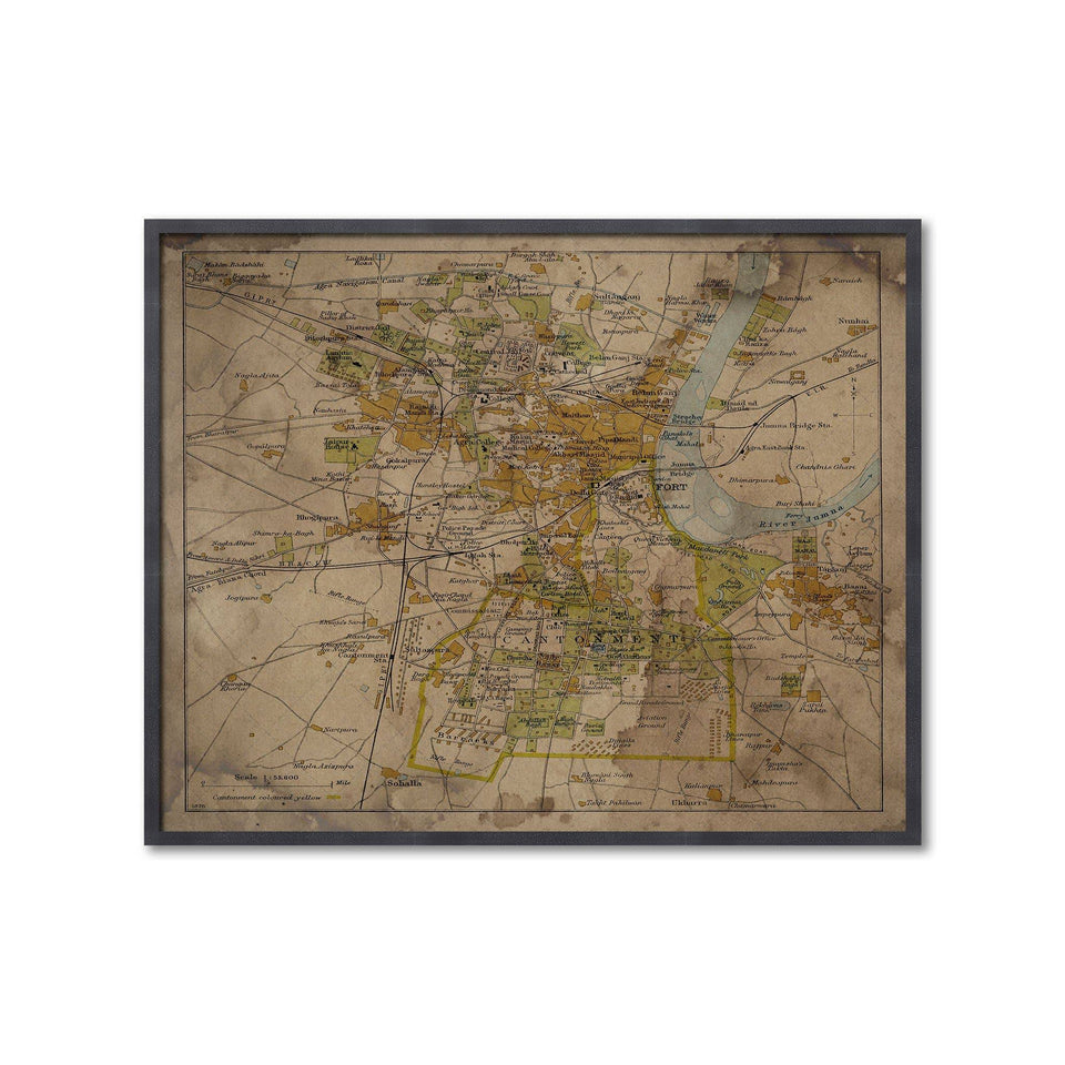 AGRA, INDIA Map, Circa 1897 - Foundry