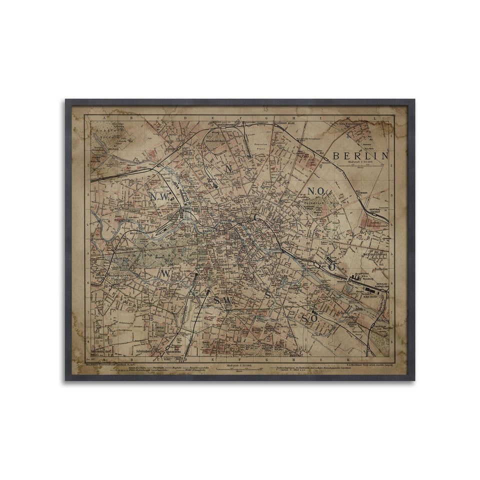 BERLIN, GERMANY - MAP of 1895 - Foundry