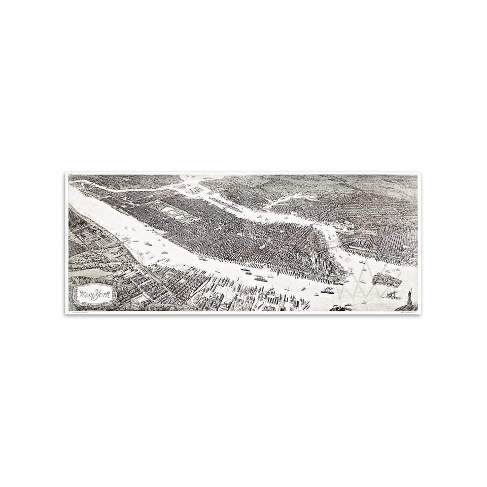 BIRDS EYE VIEW Over 1908 NEW YORK CITY - Foundry