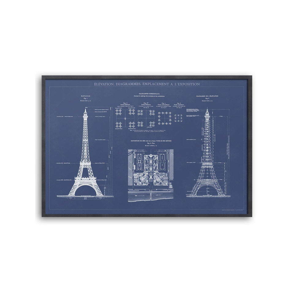 EIFFEL TOWER  - ELEVATION, DIAGRAMMES, EMPLACEMENT A L'EXPOSITION - Foundry