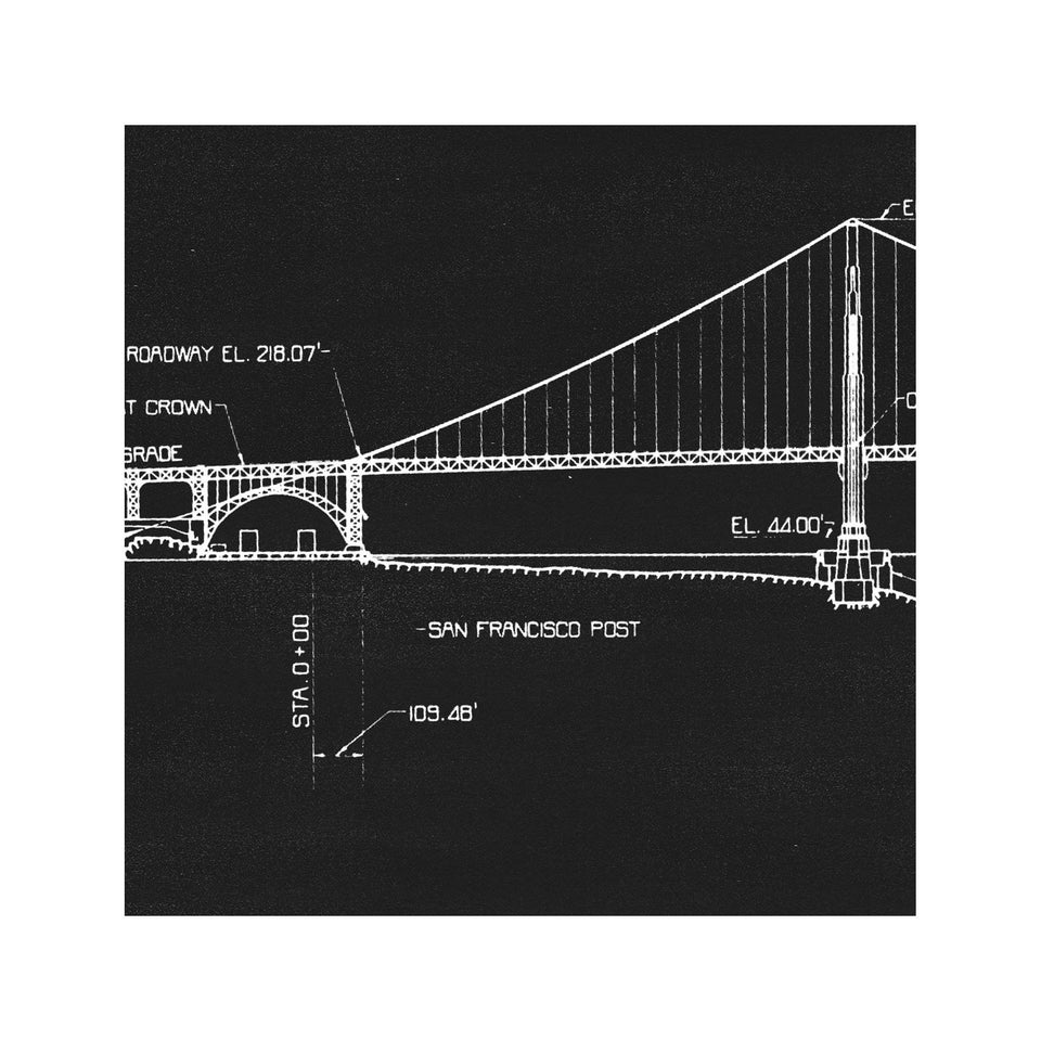 GOLDEN GATE BRIDGE - 1937 Profile + Elevation - Foundry