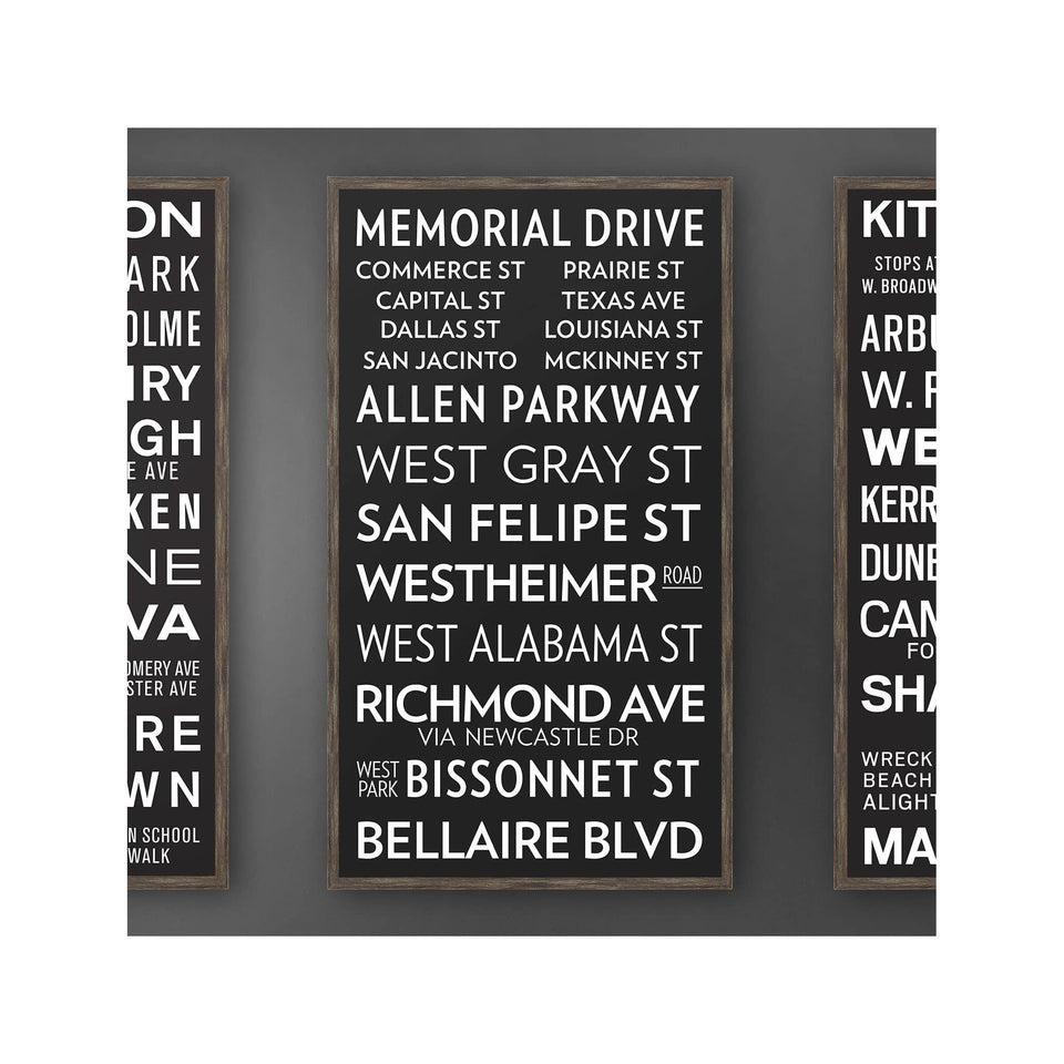 HOUSTON TEXAS Bus Scroll - MEMORIAL DRIVE - Foundry