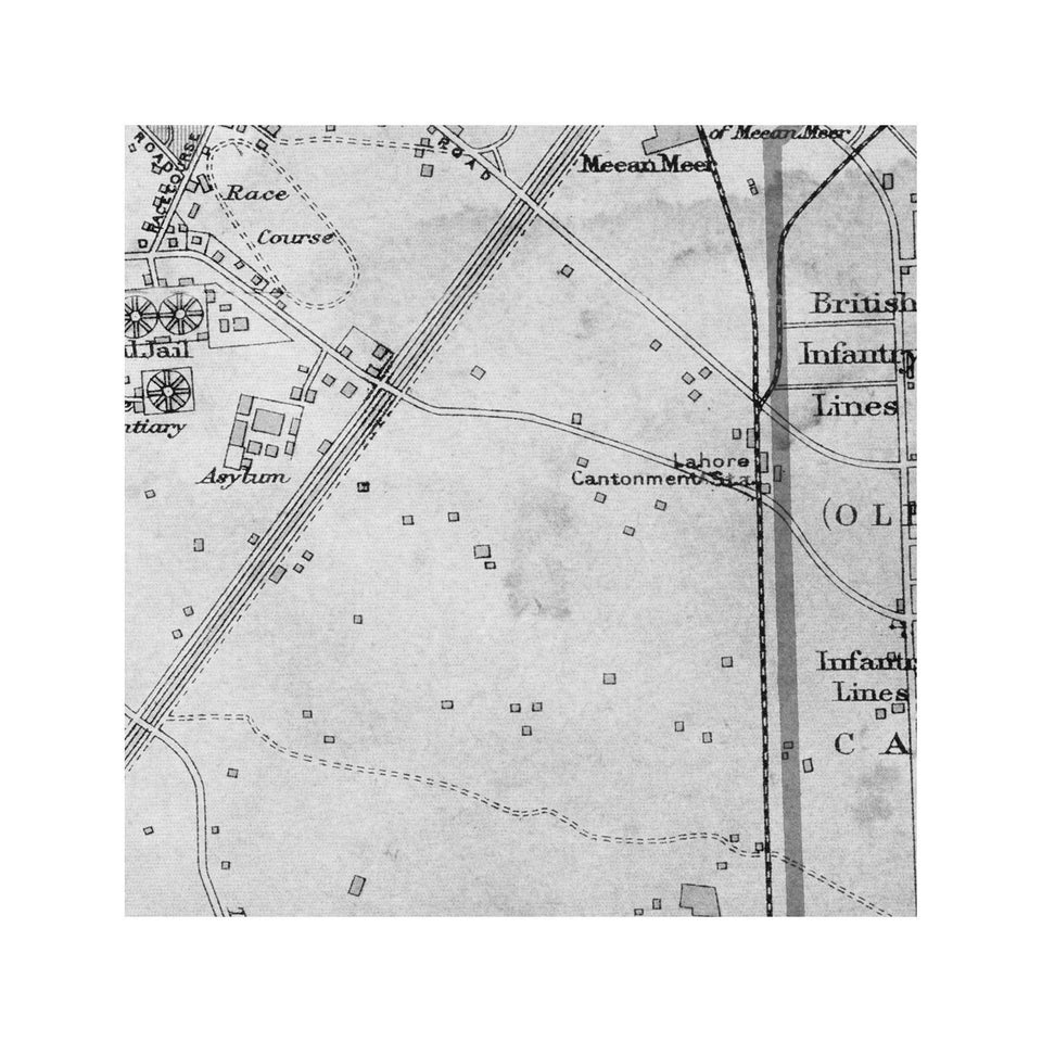 LAHORE, PAKISTAN Map, Circa 1897 - Foundry