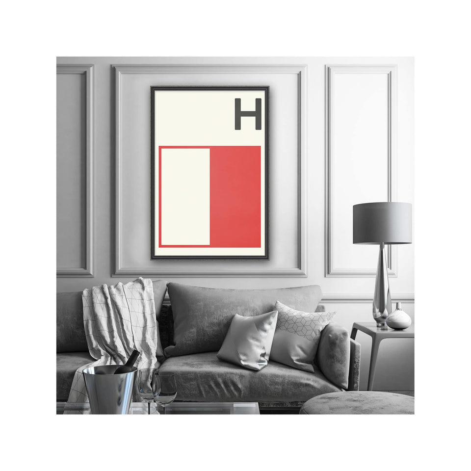 LETTER H - Navy Signal Print