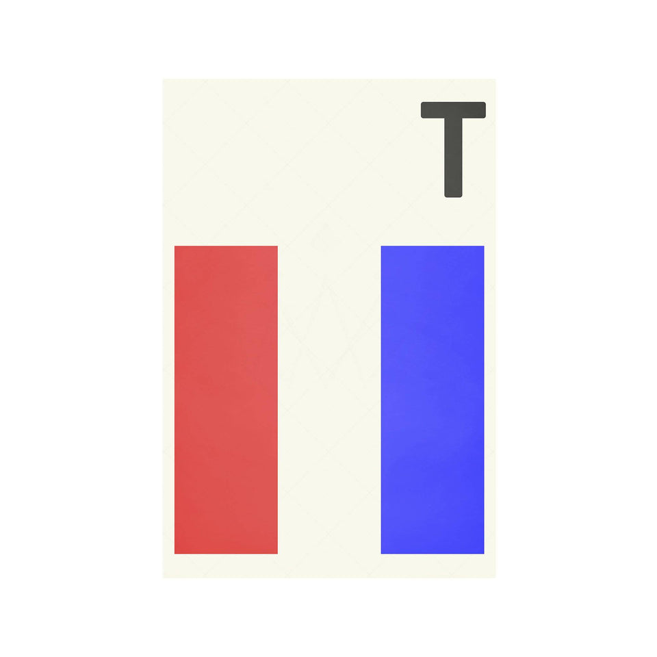 LETTER T - Navy Signal Print