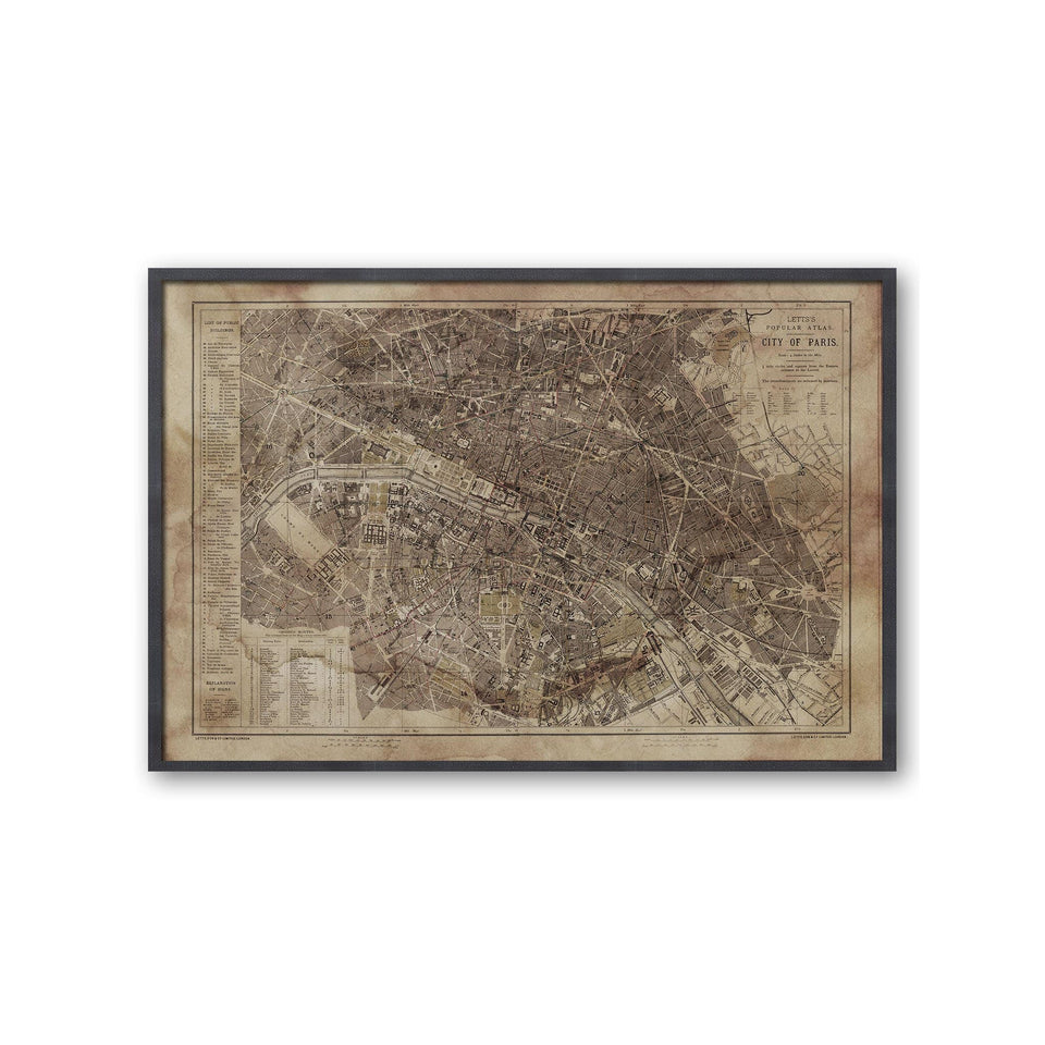 LETTS MAP of PARIS, 1883 - Foundry