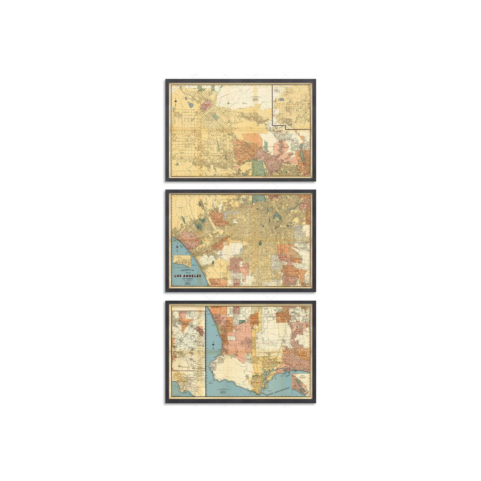 LOS ANGELES California Map - Triptych - Foundry