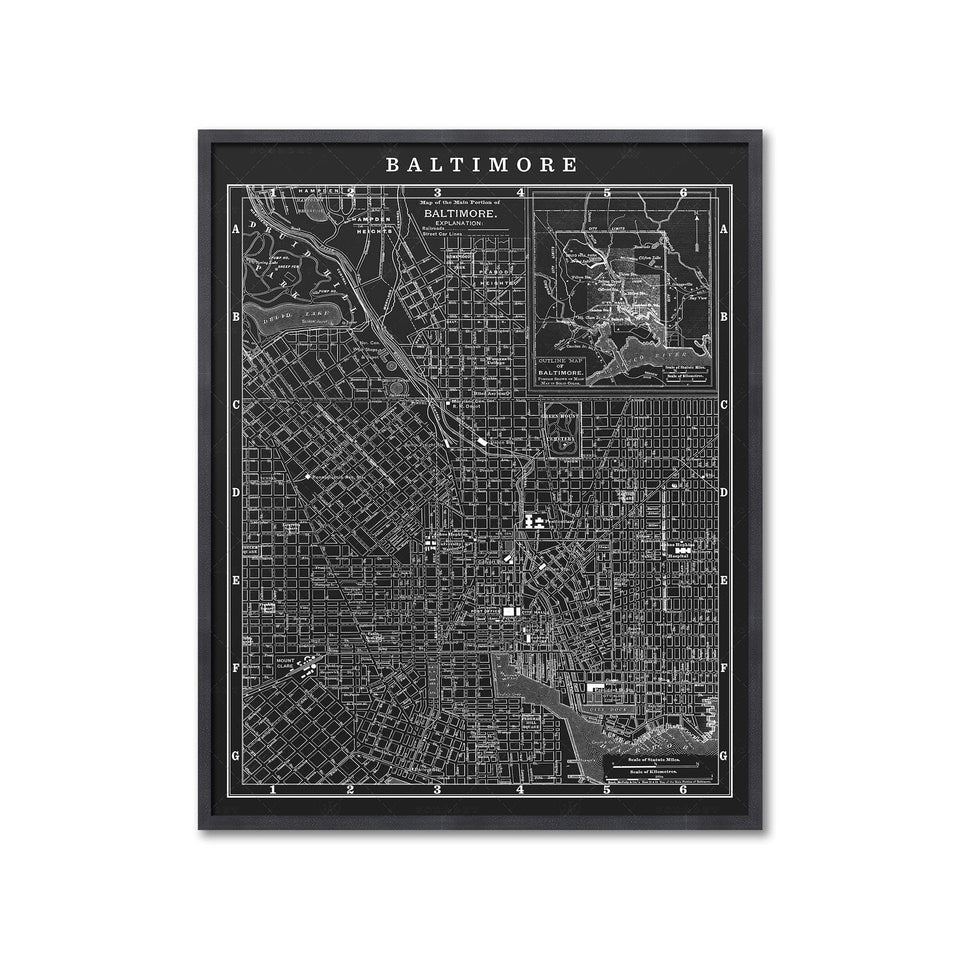 MAP of BALTIMORE, Circa 1900s - Foundry
