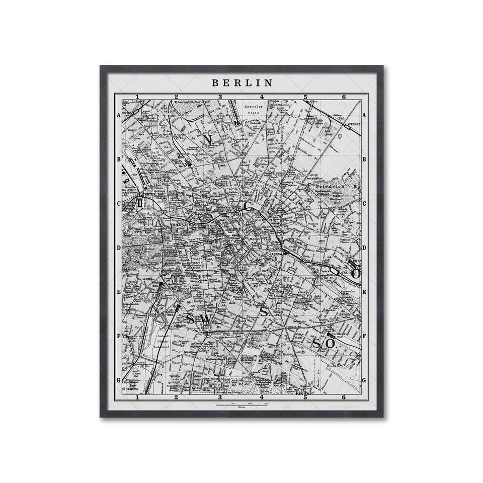 MAP of BERLIN, Circa 1900s - Foundry