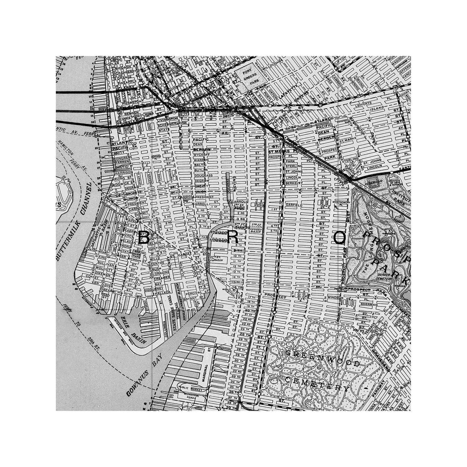 MAP of BROOKLYN, Circa 1900s - Foundry