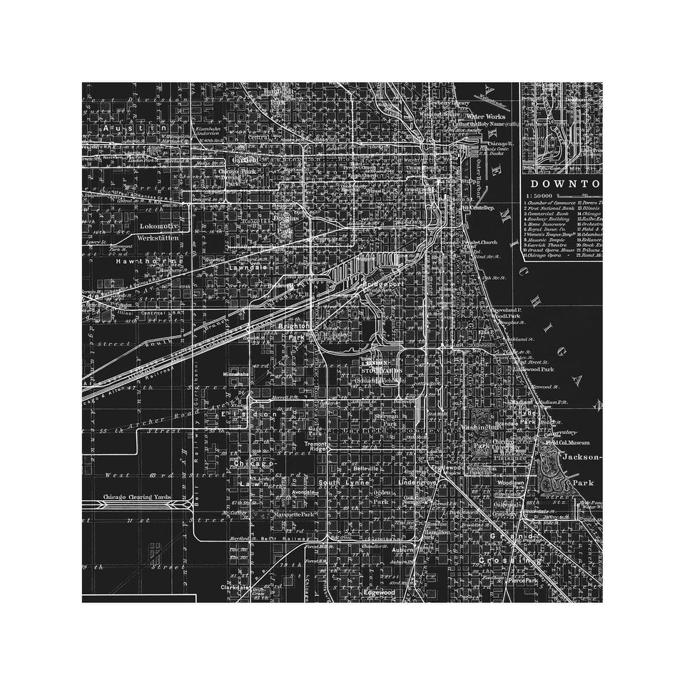 MAP of CHICAGO, Circa 1900s - Foundry