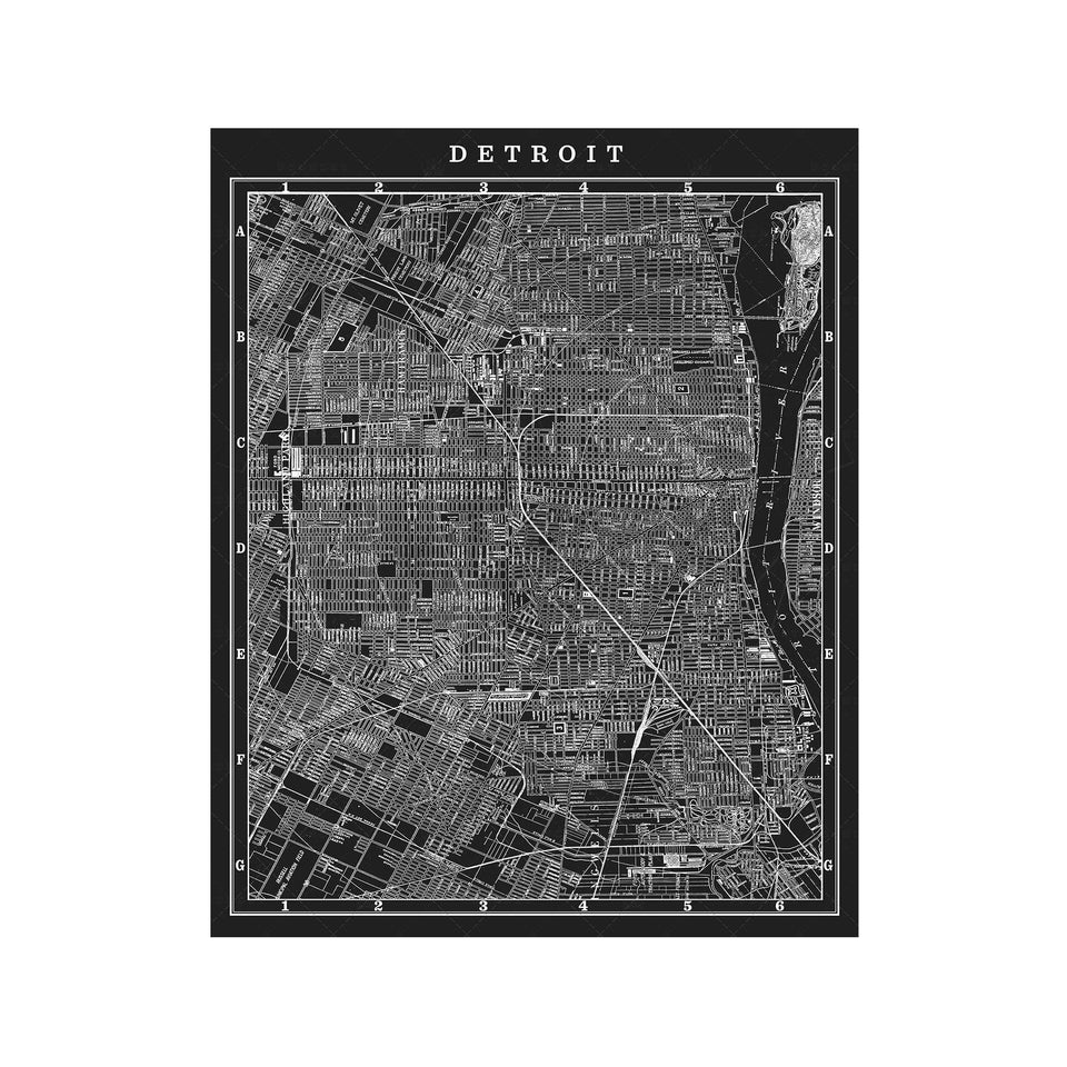 MAP of DETROIT, Circa 1900s - Foundry