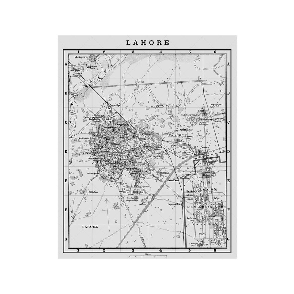 MAP of LAHORE, Circa 1900s - Foundry