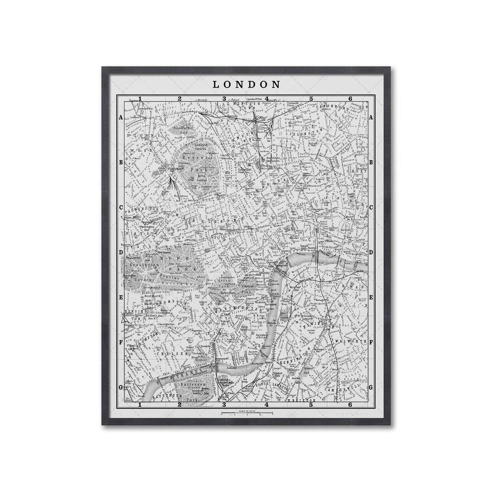 MAP of LONDON, Circa 1900s