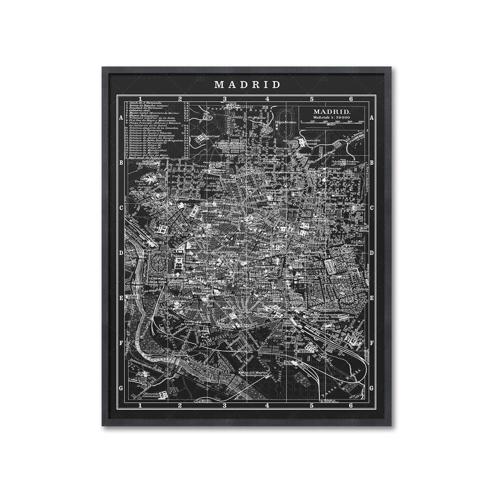MAP of MADRID, Circa 1900s - Foundry