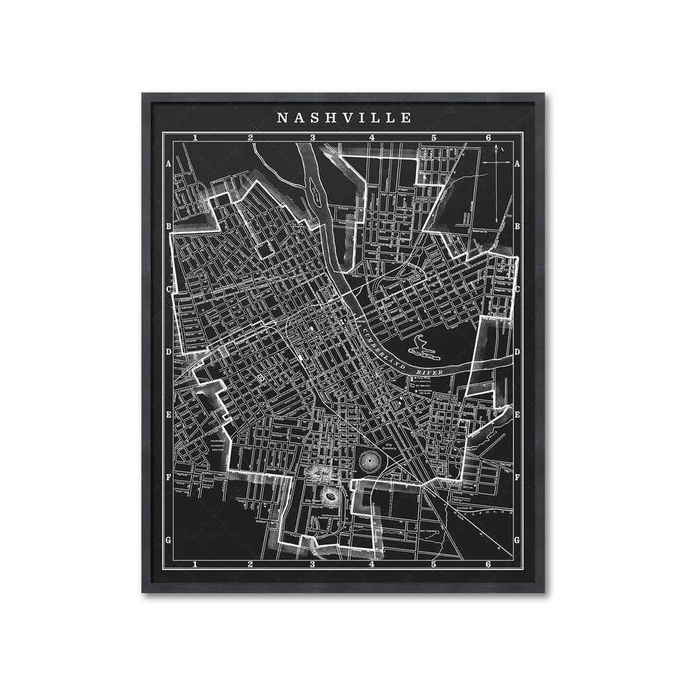 MAP of NASHVILLE, Circa 1900s - Foundry