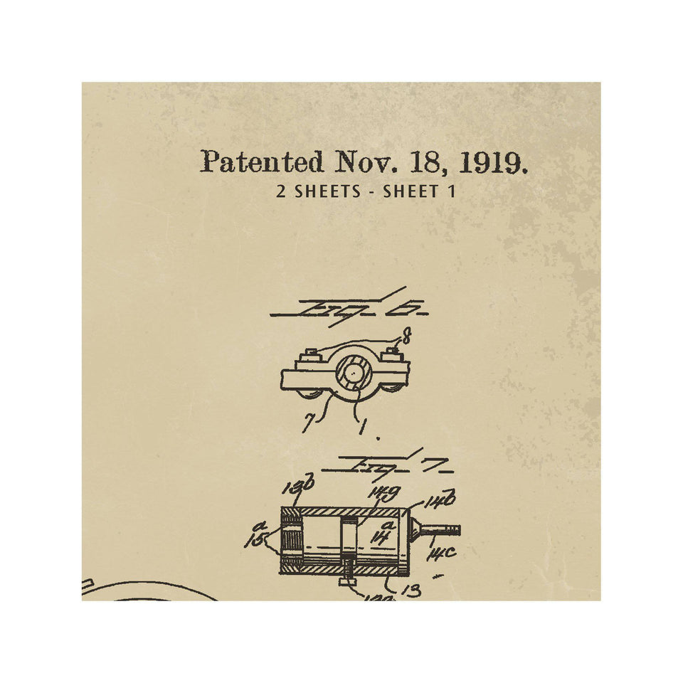 MOTORCYCLE PATENT - W.J. CANFIELD, 1919 - Foundry