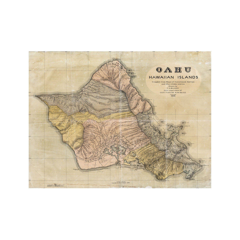 OAHU Hawaii Map - Foundry