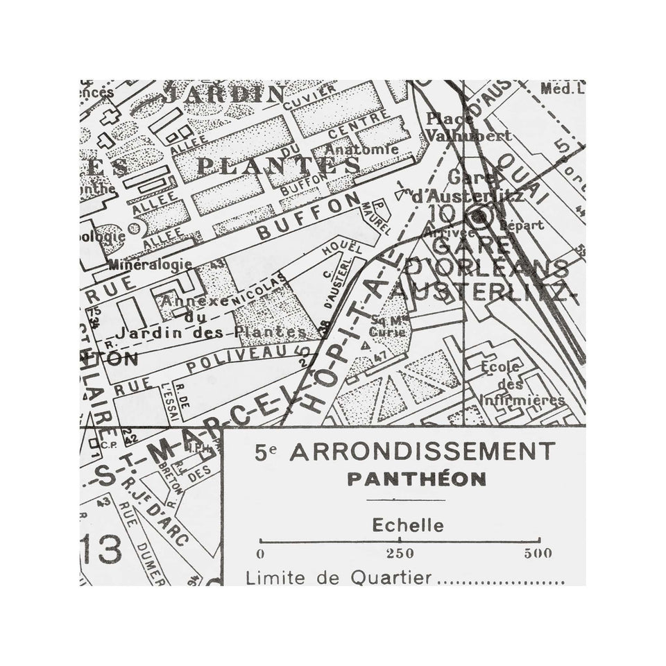PARIS Map - 5th Arrondissement - PANTHEON - Foundry