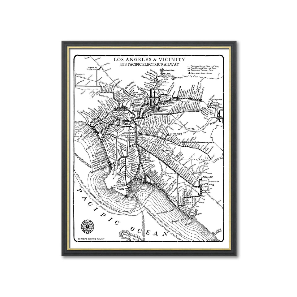 ROUTE MAP of the PACIFIC ELECTRIC RAILWAY - LOS ANGELES and VICINITY