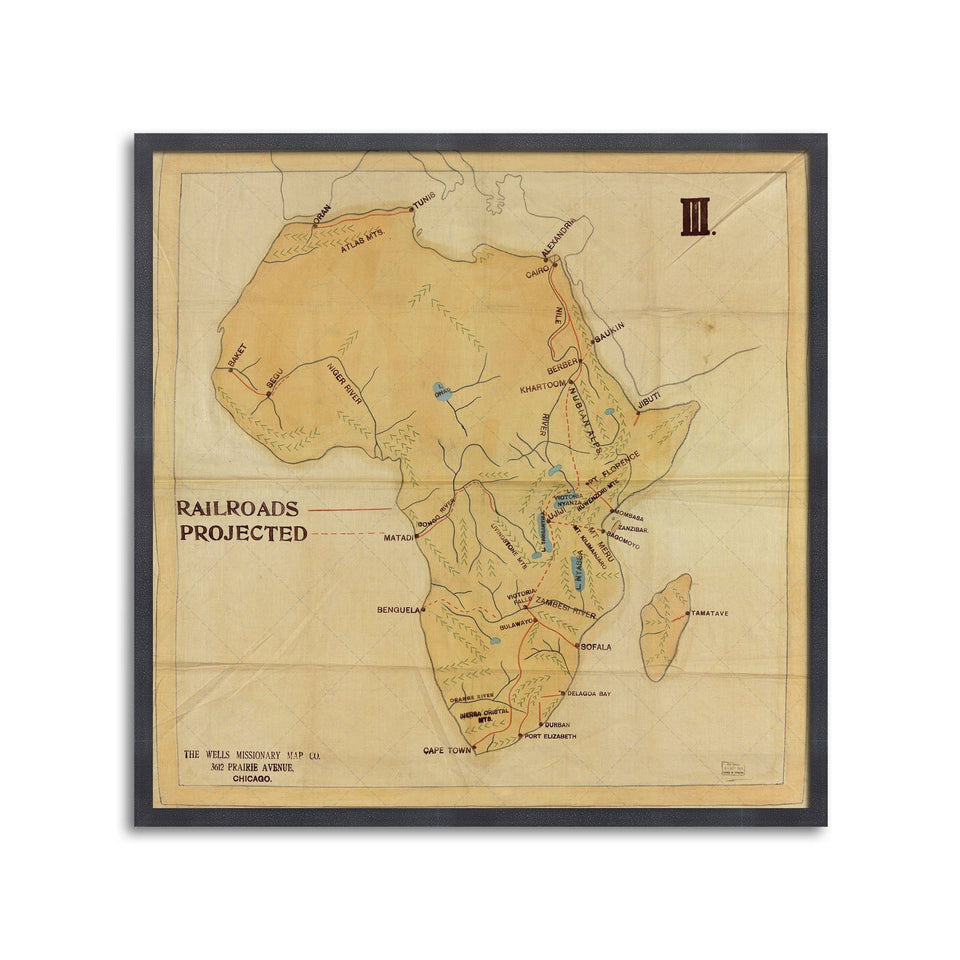 The WELLS MISSIONARY Map - RAILROADS of AFRICA