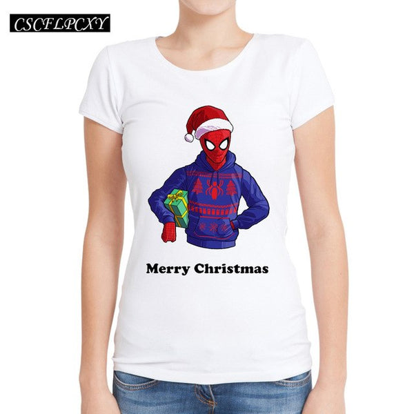 Merry Christmas Women T Shirts Batman Spiderman Deadpool Printed T-Shirt Short Sleeve O-Neck Novelty Casual Tops