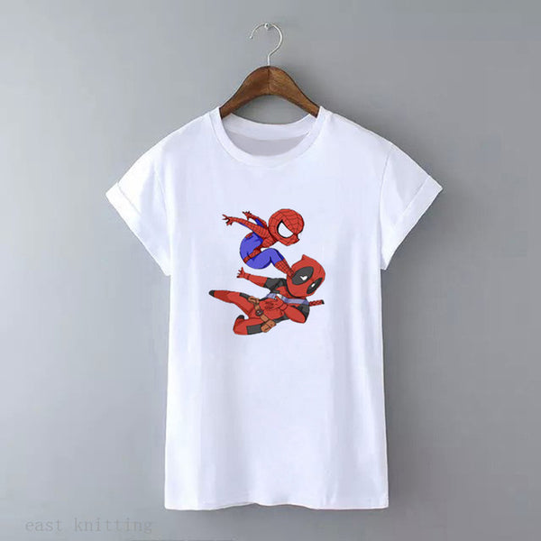 WT0395  Funny Deadpool Cartoon Design Tops For Women Hipster Unisex Cool Male Tees