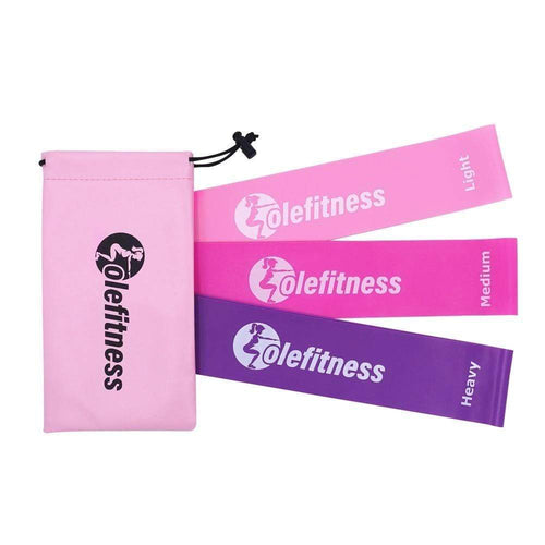 Resistance Loop Bands Pink Set of 3 + Free Bag - HIIT gear
