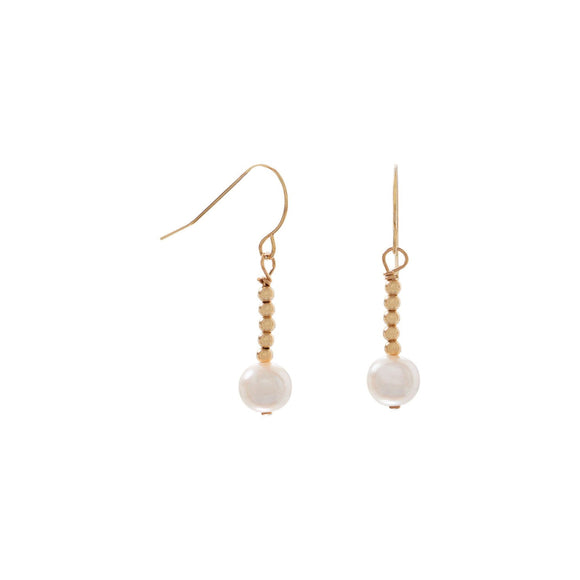 14 Karat Gold French Wire Beaded and Cultured Freshwater Pearl Earrings