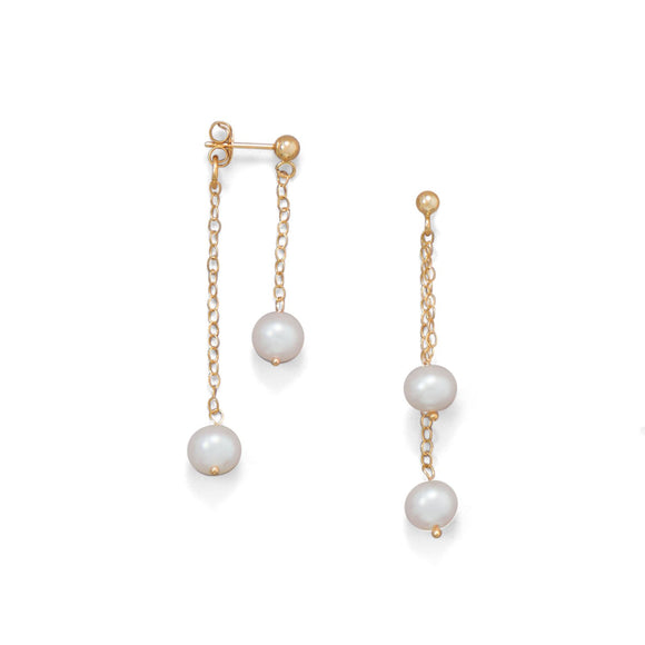 14 Karat Gold Cultured Freshwater Pearl Front Back Earrings