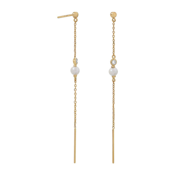 14 Karat Gold Chain Earrings with Cultured Freshwater Pearl and CZ