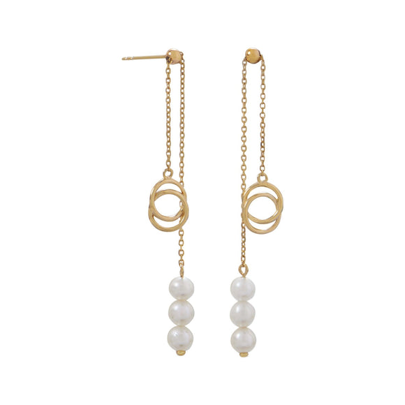 14 Karat Gold Slide Earrings with Cultured Freshwater Pearls