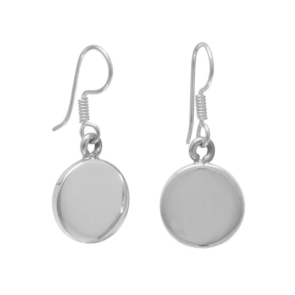 15mm Round Engravable Tag Earrings on French Wire