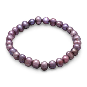 Plum Cultured Freshwater Pearl Stretch Bracelet