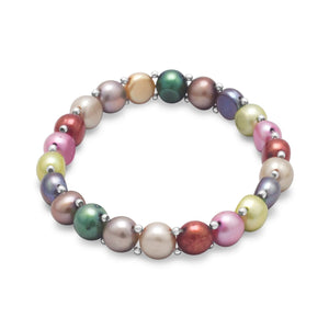 Multi-Color Cultured Freshwater Pearl and Sterling Silver Bead Stretch Bracelet