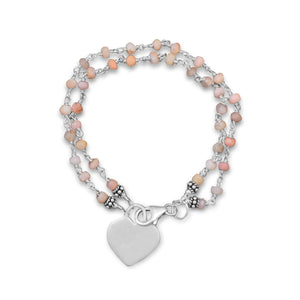 Pink Opal Bracelet with Engravable Heart Tag