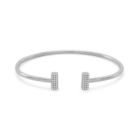 Rhodium Plated Signity CZ Bar Flex Cuff