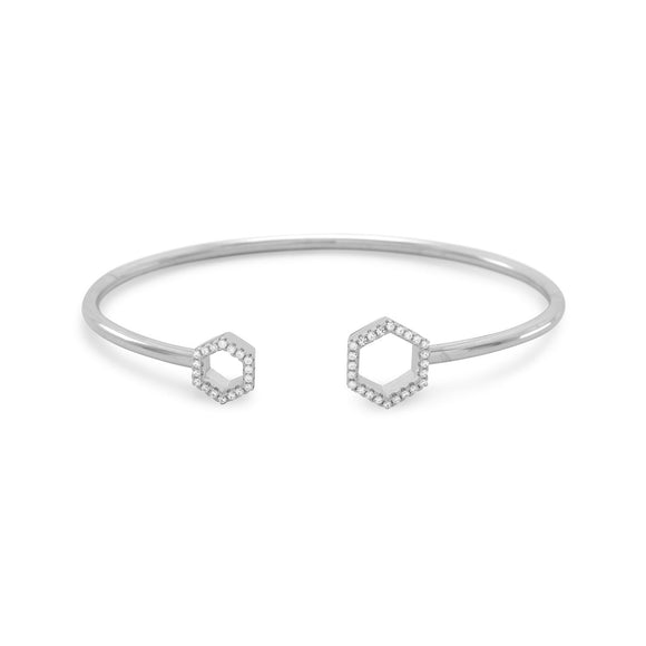 Rhodium Plated Signity CZ Honeycomb Flex Cuff