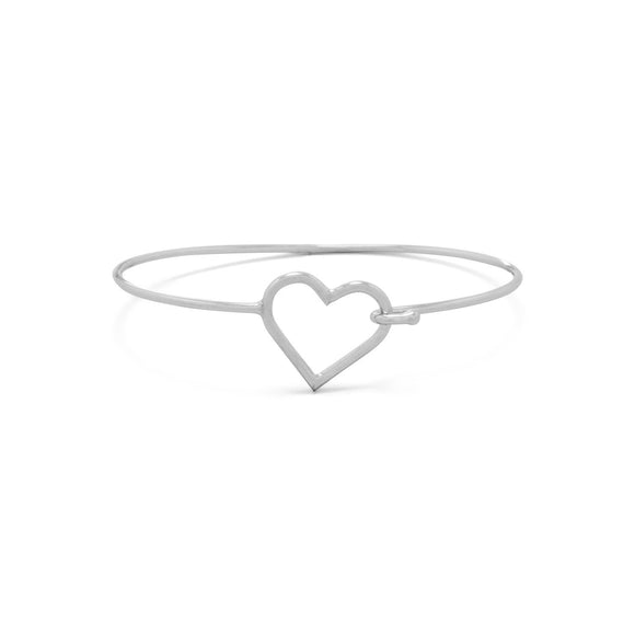 Rhodium Plated Open Heart Bangle